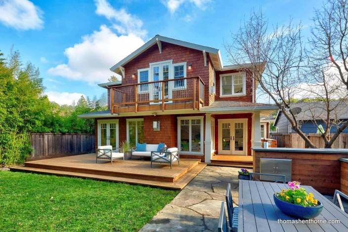 Backyard of Craftsman home