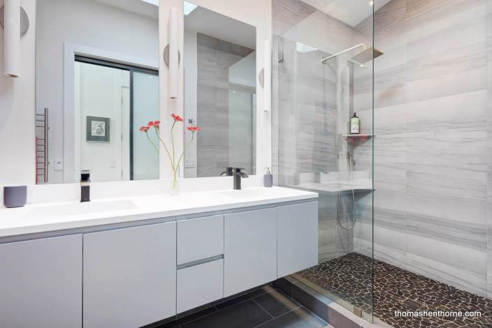 modern bathroom with walk in shower