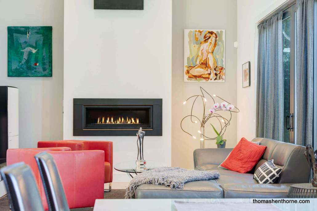 Gas fireplace rectangular in modern home