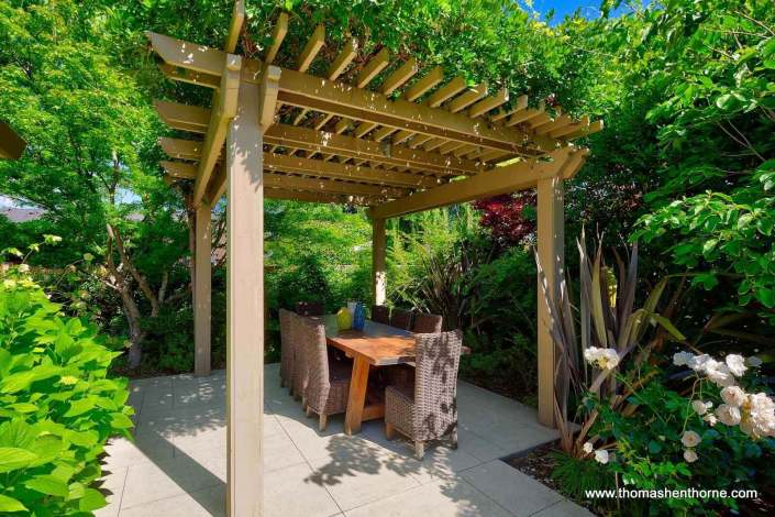 table under trellis