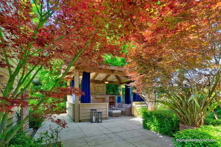 View of outdoor living room and Japanese Maples