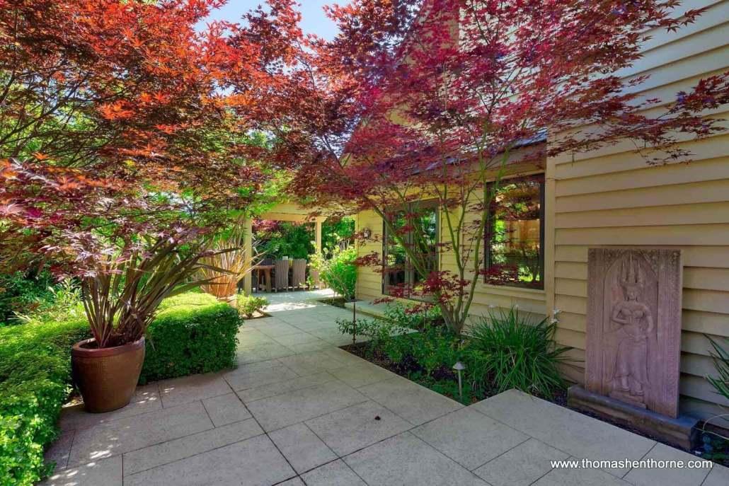 Back yard with stone walkways