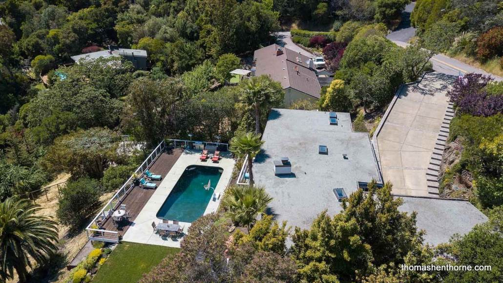 Aerial view of 272 Fairhills Drive in San Rafael