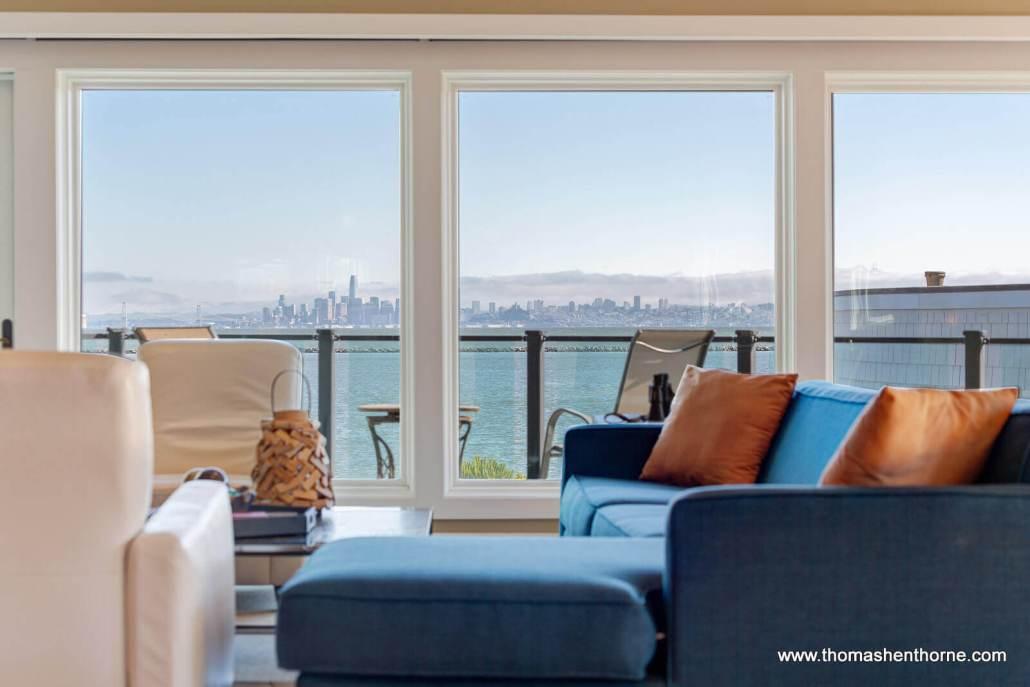 SF skyline through windows