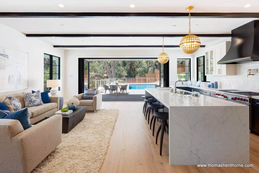 Kitchen and family room open to outdoors california living