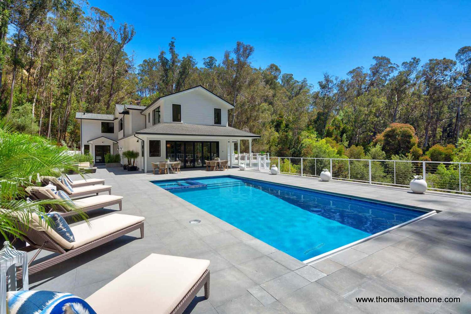 61 Gold Hill Grade in San Rafael, California pool in foreground and home in background
