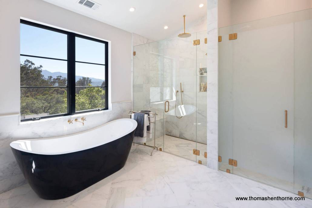 Soaking tub with view of Mt. Tamalpais through window