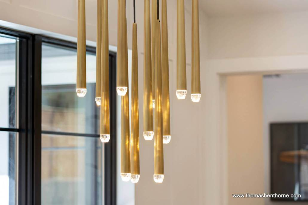 Closeup of modern brass light fixture