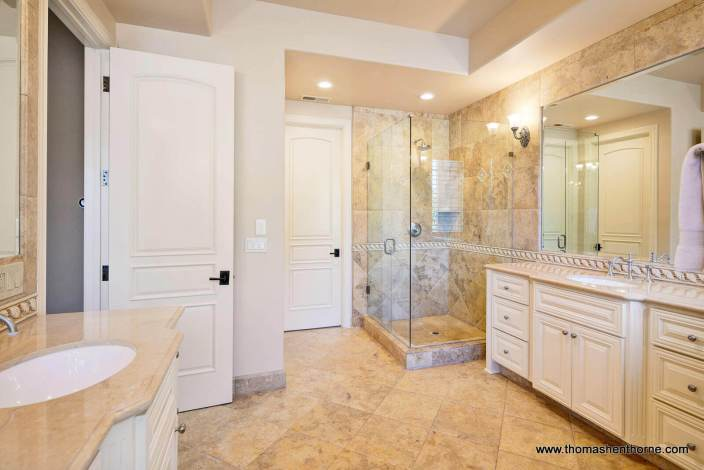 Luxury master bathroom in Marin County