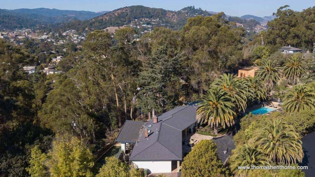 aerial view of home in marin county