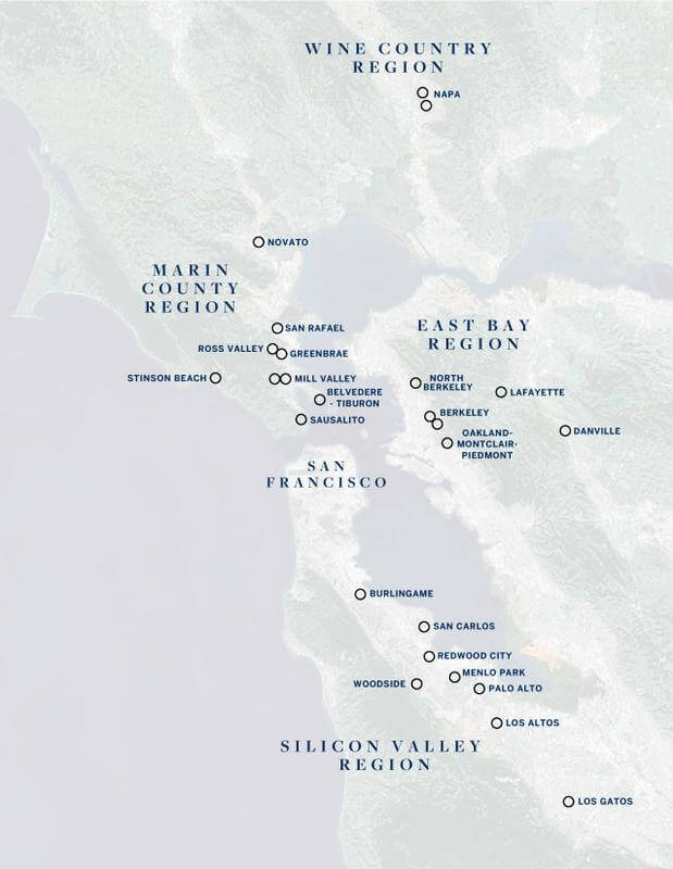 Map of Golden Gate Sotheby's Intl locations January 2021