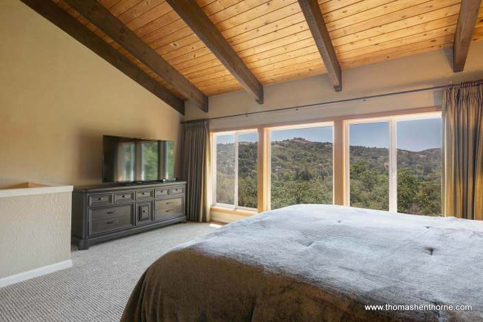 bedroom with view of marin hills