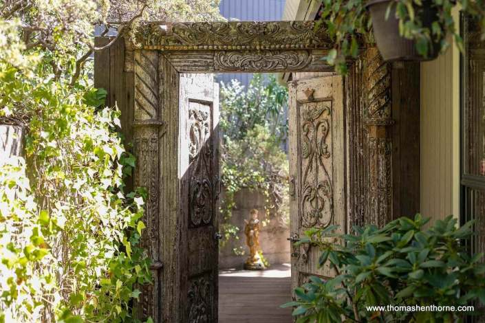 carved wooden gate