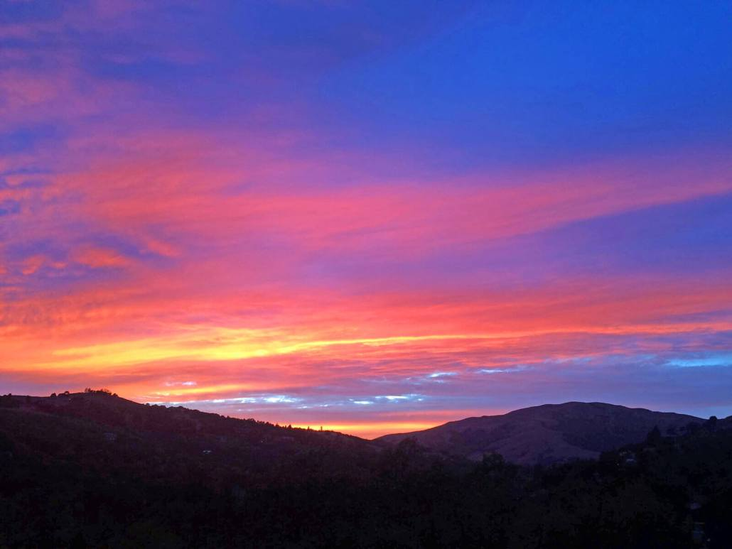 Gorgeous Sunset from 390 Fawn Drive in San Anselmo