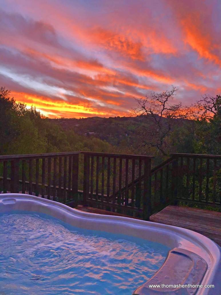 Sunset from spa at 390 Fawn Drive in San Anselmo