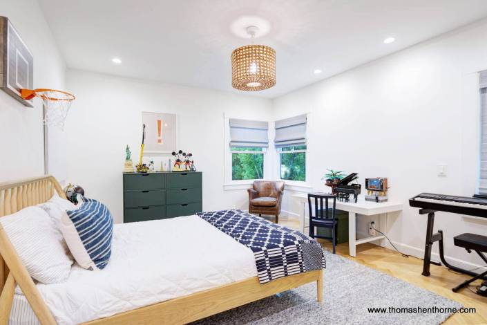 bedroom with corner window