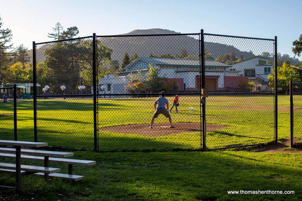 Baseball practice in Ross California