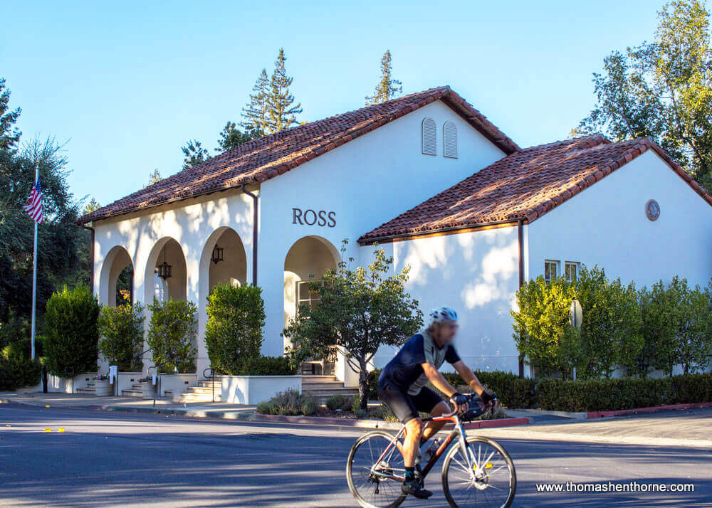 Ross California post office with bicyclist