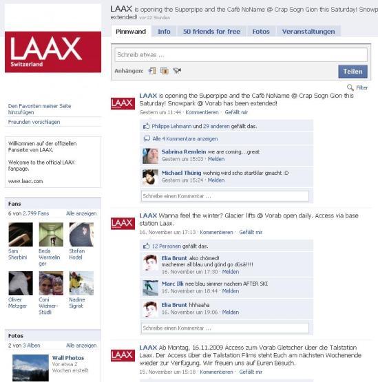 Laax Fanpage - leider ohne effektive Promo