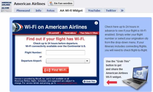 American Airlines WiFi Widget