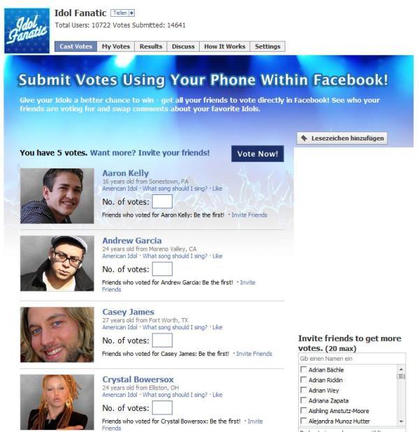Idol Fanatic Facebook Applikation