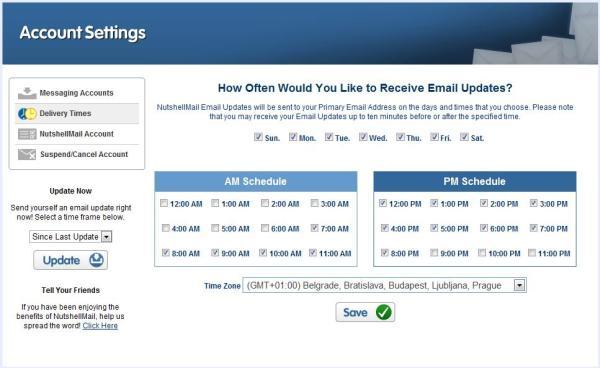 Nutshell Mail - Einstellungen Updatehäufigkeit