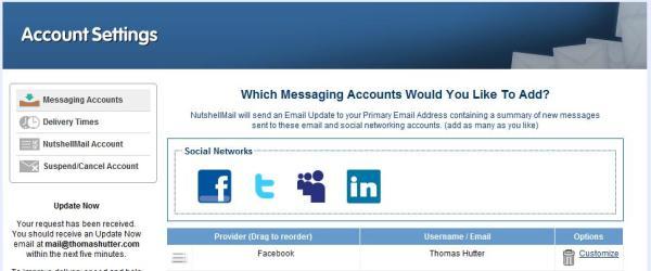 NutshellMail - Twitter, LinkedIn, MySpace und Facebook Monitoring