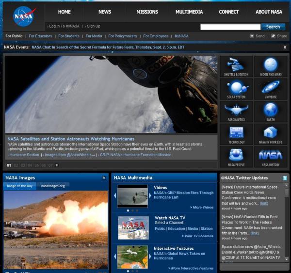 Startseite von nasa.gov