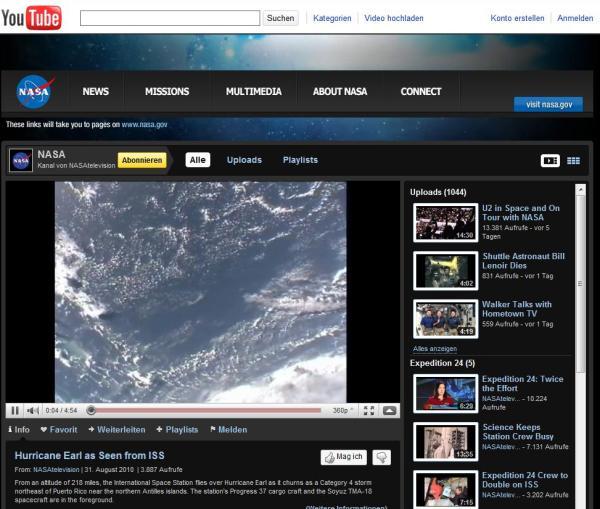 NASAtelevision auf YouTube