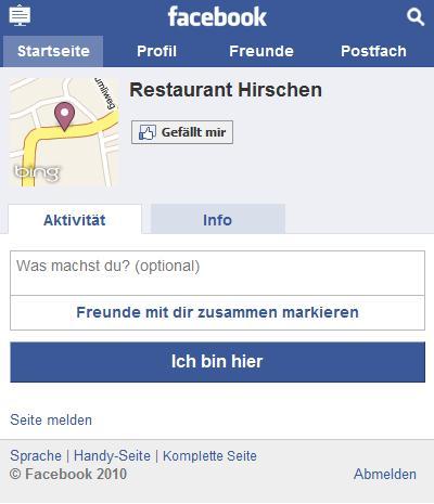 Einchecken an einem Ort auf touch.facebook.com