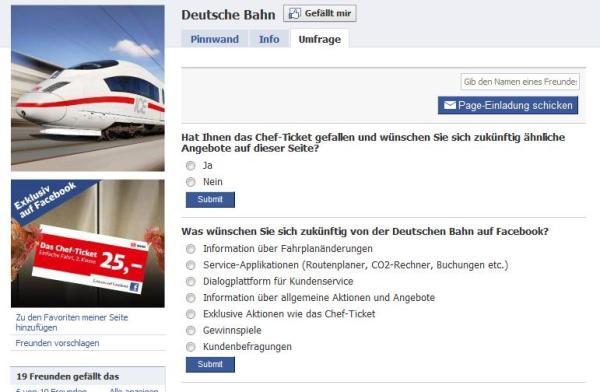 Umfrage auf der Facebook Seite der Deutschen Bahn