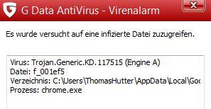 Viren-Warnmeldung Facebook-Trojaner