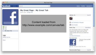 Beispiel einer iFrame-Einbindung innerhalb einer Facebook Seite