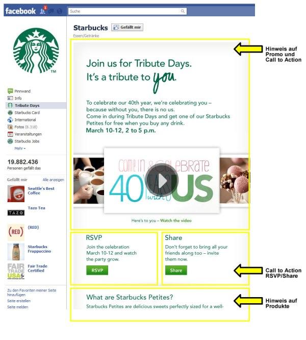 Landingpage in der Facebookseite von Starbucks