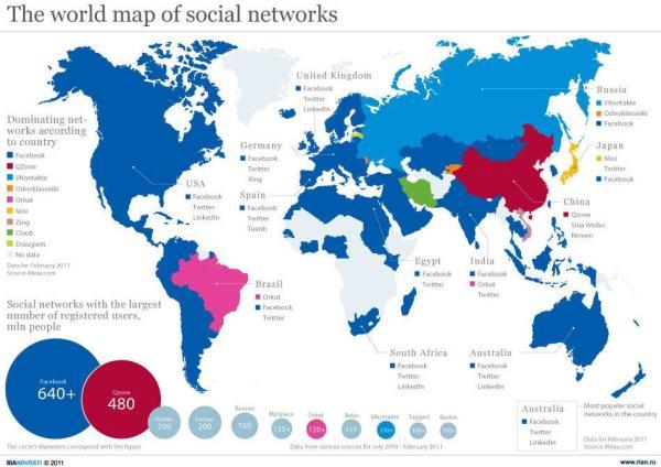 Weltkarte der sozialen Netzwerke