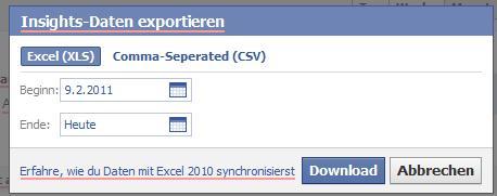 Exportfunktion der Insights