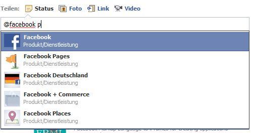 @mentions in Statusmeldungen und Kommentaren