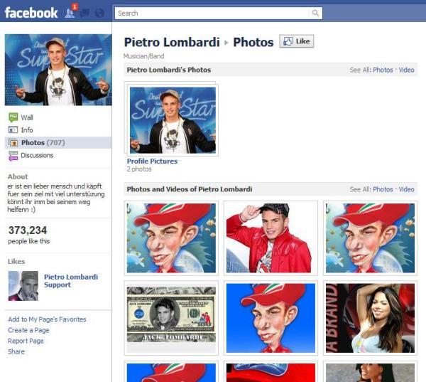Eine der vielen Pietro Lombardi Facebookseiten