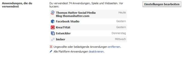 Facebook Applikationen ausmisten