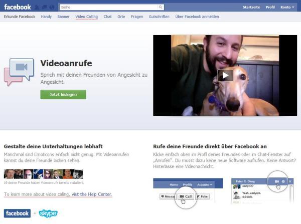 VideoCalls auf Facebook