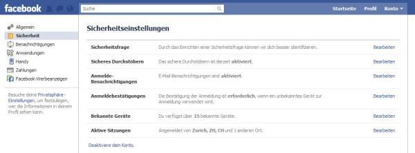 Facebook Kontoeinstellungen Sicherheit
