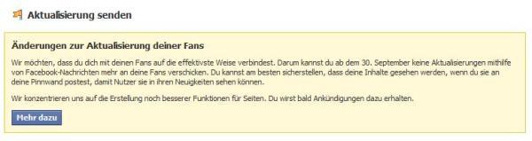 """Hinweis """"Aktualisieren"""" auf Facebookseiten"""