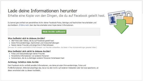 Facebook Informationen herunterladen