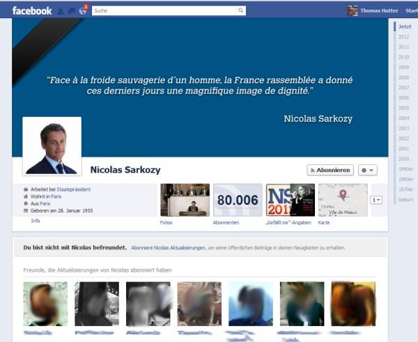 Facebook Timeline Profil mit Subsribe von Nicolas Sarkozy