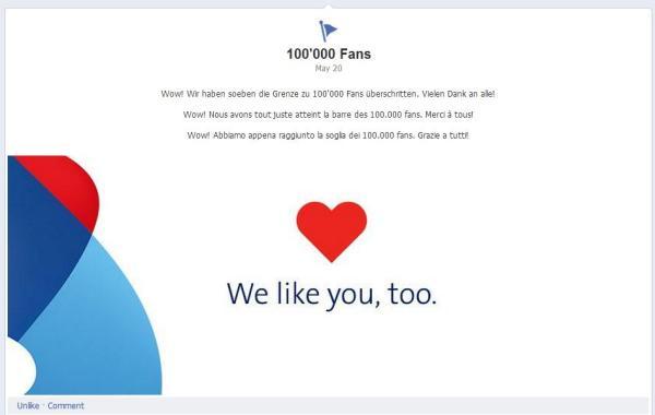 Meilenstein am 20.05.2012 bei Swisscom