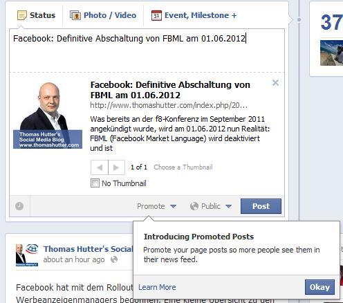 """""""promote""""-Schaltfläche in der englischen Version von Facebook im Publisher der Facebook Seite"""