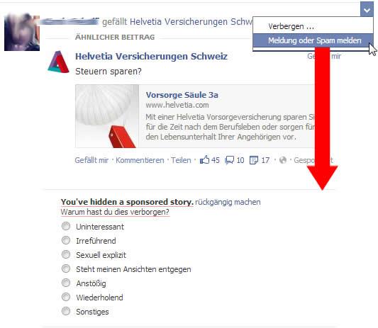 Sponsored Posts bei bei Facebook melden