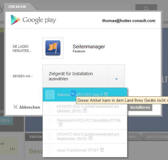 Fehlermeldung auf Google Play für Schweizer Nutzer