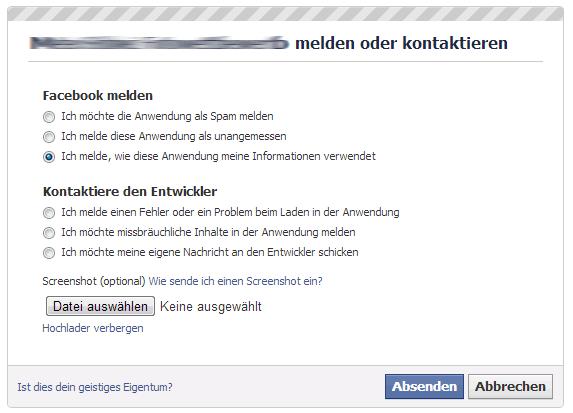 """""""Applikation melden""""-Dialog"""
