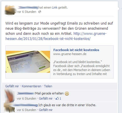 Diskussion auf Facebook
